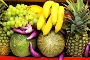 varietà di frutti tropicali in vetrina foto