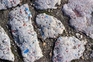 primo piano di un vecchio pavimento in pietra foto