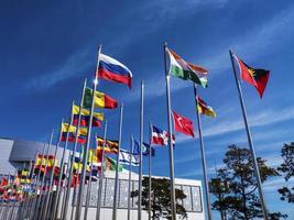 bandiere dei paesi del mondo sui pennoni. Expo, città di Yeosu. Corea del Sud, gennaio 2018 foto