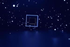 un magico cubo di vetro doppio che galleggia nello spazio blu tra il bagliore e le stelle. rendering 3D. foto