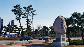 la strada sulla città di sokcho, corea del sud foto