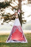 baby pink house wigwam nel parco in estate foto
