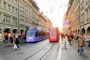 Scena di strada a Berna in Svizzera durante l'inverno foto