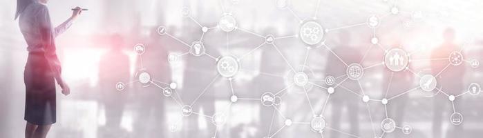 rete di comunicazione. sfondo panoramico orizzontale aziendale. struttura organizzativa su banner virtuale. foto