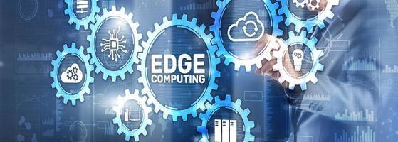 concetto di internet tecnologia edge computing. tecnica mista foto
