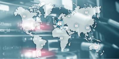 concetto di sicurezza informatica globale comunicazione privacy protezione dati sfondo stanza server. foto