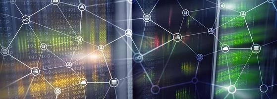 concetto di telecomunicazioni con struttura di rete astratta e sfondo della sala server. foto
