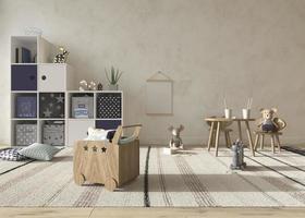 camera dei bambini interni in stile scandinavo con mock up sul muro sfondo 3d rendering illustrazione foto
