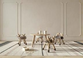 camera dei bambini interni in stile scandinavo con mobili in legno naturale. mock up sullo sfondo del muro. illustrazione di rendering 3d in stile fattoria per bambini. foto