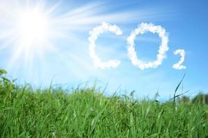 prato verde con il sole nel cielo azzurro e la scritta co2 foto