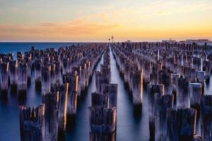 Senery of Princes Pier a Melbourne al crepuscolo foto