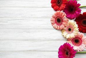 fiori di gerbera luminosi su un fondo di legno bianco foto