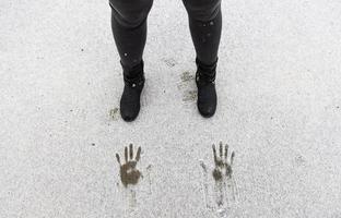 impronte nella neve foto