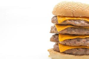 hamburger di maiale o hamburger di maiale con formaggio isolato su sfondo bianco foto