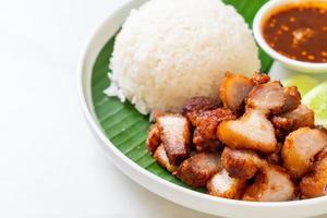 pancetta di maiale fritta con riso con salsa piccante in stile asiatico foto