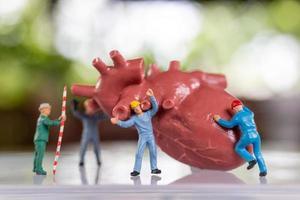 il team di lavoratori in miniatura esamina il cuore ascolta un battito cardiaco e fa una diagnosi foto