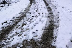 impronte piedi neve foto