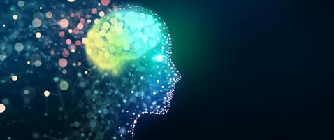 testa umana con una rete cerebrale luminosa, concetto di sfondo tecnologico foto