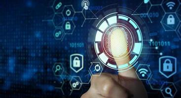 la scansione delle impronte digitali fornisce un accesso di sicurezza con identità e approvazione biometrica foto