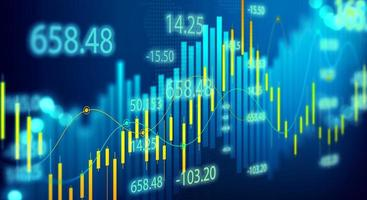 illustrazione di grafici e diagrammi forex per la visualizzazione del mercato azionario a bordo foto