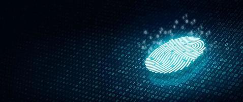 scansione delle impronte digitali con codice binario su sfondo di colore blu intenso foto