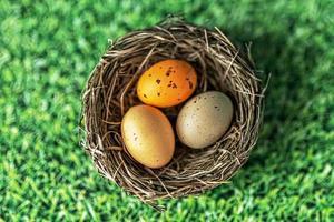 uova di pasqua in un nido naturale su uno sfondo verde con trama di erba. vista dall'alto foto