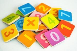 numero di matematica colorato su sfondo bianco, educazione studio apprendimento matematica insegnare concetto. foto