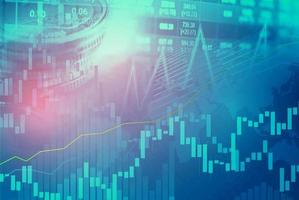 trading di investimenti nel mercato azionario finanziario, grafico di monete e grafico o forex per analizzare lo sfondo dei dati di tendenza aziendale di finanza di profitto. foto
