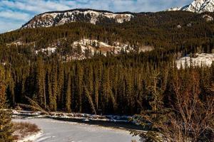 il fiume di prua scorre al di sotto della gamma di prua. parco nazionale di banff, alberta, canada foto