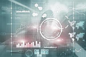 business intelligence bi indicatore di prestazioni chiave kpi analisi dashboard sfondo sfocato trasparente. foto
