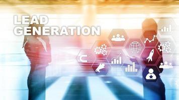 concetto di interesse di ricerca aziendale analisi della generazione di piombo. strategia di marketing tecnologia finanziaria foto
