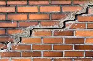 fondo di struttura del muro di mattoni incrinato foto