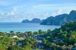 vista panoramica dal punto di vista dall'alto sull'isola di phi phi, bellissimi luoghi turistici come il paradiso che si affaccia su edifici di case da hotel e resort alla costa e al cielo blu. foto