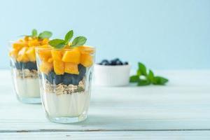 mango fresco fatto in casa e mirtillo fresco con yogurt e muesli - stile alimentare sano healthy foto