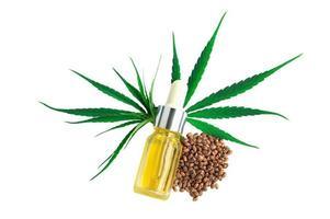 bottiglia con olio di canapa, foglie di canapa e semi isolati su sfondo bianco, prodotti di canapa con olio di cbd, olio di estratto di cannabis, marijuana medica. foto