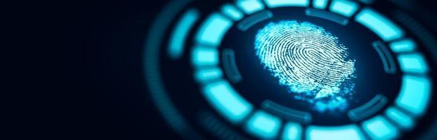 la scansione della tecnologia delle impronte digitali fornisce l'accesso di sicurezza foto