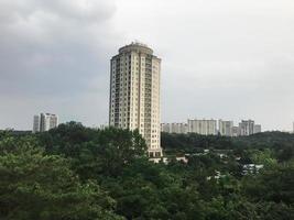 edificio alto e bosco verde intorno. città di sokcho, corea del sud foto