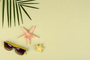 carambola di frutta, accessori da spiaggia e fogliame di una pianta tropicale su carta colorata foto