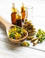st. erba di San Giovanni, pillole medicinali a base di erbe foto