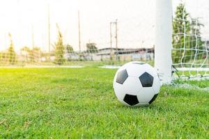pallone da calcio sul campo da calcio foto