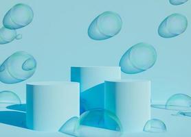 podio blu con bolle di sapone foto