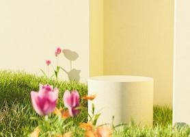 podio da giardino di tulipani foto