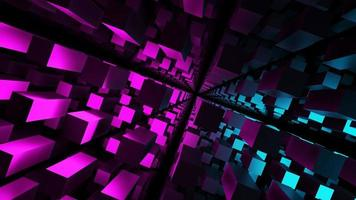 3d che rende quadrato astratto fluorescente blu rosa nero foto