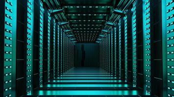 Rendering 3D di un corridoio vuoto di fantascienza foto