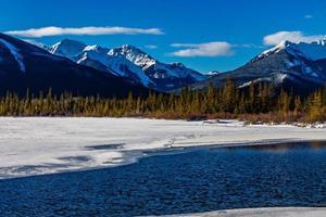 mare aperto nonostante sia inverno. laghi vermiglio, parco nazionale di banff, alberta, canada foto