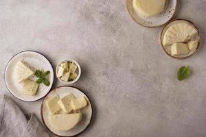 la deliziosa composizione di formaggio paneer foto