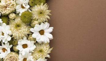 fiori piatti splendidamente sbocciati con spazio di copia foto