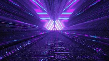 tunnel astratto con disegno geometrico al neon 4k uhd 3d illustration foto