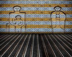 palco di muro di mattoni interni grunge urbano foto