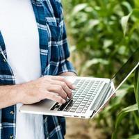 agricoltore che ispeziona il campo di mais estivo giornata di sole foto